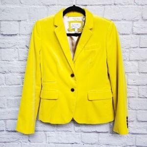 J. Crew Canary Yellow Velvet Schoolboy Blazer
